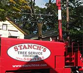 Large dead tree, powerlines, close proximity of houses; no problem for Stanch's Tree Service