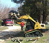 Our turf friendly grappler gently assists in clearing trees and branches removed from these cemetery grounds